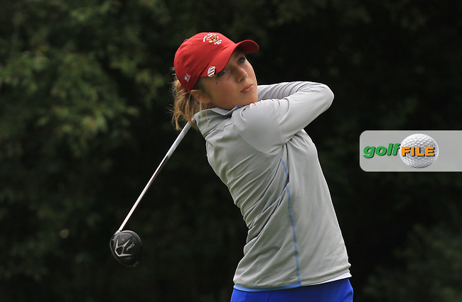 Sierra Brooks on the 9th tee during the Saturday Mourning Fourbsomes of the 2016 Curtis Cup at Dun Laoghaire Golf Club on Saturday 11th June 2016.<br /> Picture:  Golffile | Thos Caffrey