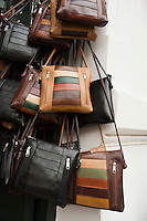 Uruguay, Colonia del Sacramento, Leather handbags in craft shop