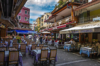 Travel Print Photograph of restaurants located on a busy walking street in Istanbul Turkey.