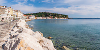 Panoramic photo of Adriatic Sea front, Piran, Slovenian Istria, Slovenia, Europe