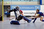 Mannheim, Germany, January 07: During the 1. Bundesliga Damen Hallensaison 2017/18 Sued  hockey match between Mannheimer HC (blue) and Nuernberger HTC (red) on January 7, 2018 at Irma-Roechling-Halle in Mannheim, Germany. Final score 8-1 (HT 5-1). (Photo by Dirk Markgraf / www.265-images.com) *** Local caption *** Nadine Stelter #13 of Mannheimer HC, Charlotte Gerstenhoefer #28 of Mannheimer HC