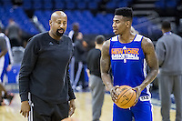 16.01.2013 London, England. New York Knicks head coach and New York Knicks point guard Iman Shumpert (21) in action during team practice ahead of the NBA London Live 2013 game between the Detroit Pistons and the New York Knicks from The O2 Arena
