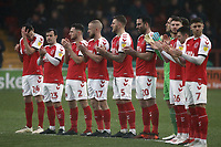 Fleetwood Town players observe a minutes applause ahead of kick-off<br /> <br /> Photographer Rich Linley/CameraSport<br /> <br /> The EFL Sky Bet League One - Fleetwood Town v Oxford United - Saturday 12th January 2019 - Highbury Stadium - Fleetwood<br /> <br /> World Copyright &copy; 2019 CameraSport. All rights reserved. 43 Linden Ave. Countesthorpe. Leicester. England. LE8 5PG - Tel: +44 (0) 116 277 4147 - admin@camerasport.com - www.camerasport.com