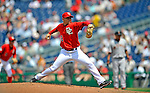 8 June 2008: Washington Nationals' pitcher Saul Rivera on the mound in relief against the San Francisco Giants at Nationals Park in Washington, DC. The Nationals dropped the afternoon matchup to the Giants 6-3 in their third consecutive loss of the 4-game series...Mandatory Photo Credit: Ed Wolfstein Photo