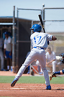 AZL Royals right fielder Isaiah Henry (17) at bat during an Arizona League game against the AZL Padres 1 at Peoria Sports Complex on July 4, 2018 in Peoria, Arizona. The AZL Royals defeated the AZL Padres 1 5-4. (Zachary Lucy/Four Seam Images)