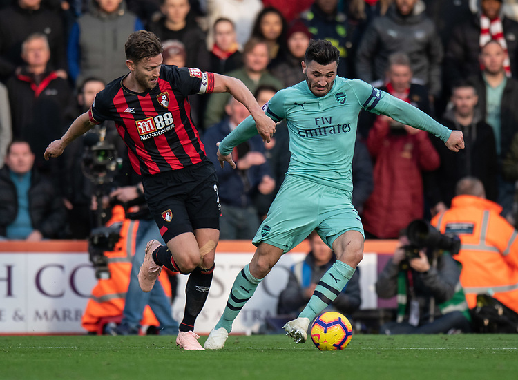 Arsenal's Sead Kolasinac (right) under pressure from Bournemouth's Simon Francis (left) <br /> <br /> Photographer David Horton/CameraSport<br /> <br /> The Premier League - Bournemouth v Arsenal - Sunday 25th November 2018 - Vitality Stadium - Bournemouth<br /> <br /> World Copyright © 2018 CameraSport. All rights reserved. 43 Linden Ave. Countesthorpe. Leicester. England. LE8 5PG - Tel: +44 (0) 116 277 4147 - admin@camerasport.com - www.camerasport.com