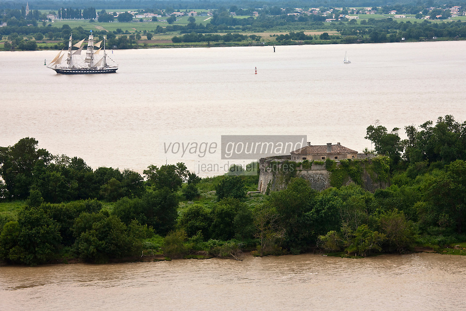 Europe/France/Aquitaine/33/Gironde/Env de Cussac-Fort-Médoc: Vue aérienne  du Belem sur l'Estuaire de la Gironde en premier plan: Fort Pâté