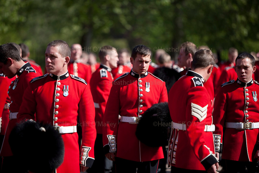 Mcc0023074 . Daily Telegraph..The Grenadier Guards preparing for Trooping the Colour in celebration of the Queen's Birthday on June 12 ..The Grenadier Guards only recently finished a six month tour of Helmand , Afghanistan on March 31...London 19 June 2010......Not AP.Not Reuters.Not PA.Not Getty.Not AFP.