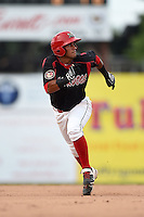 Batavia Muckdogs second baseman Rony Cabrera (40) running the bases during a game against the Auburn Doubledays on August 31, 2014 at Dwyer Stadium in Batavia, New York.  Batavia defeated Auburn 7-6.  (Mike Janes/Four Seam Images)