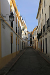 Historic buildings in narrow street in old city centre of Cordoba, Spain
