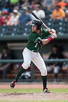 Great Lakes Loons outfielder Saige Jenco (1) at bat against the Bowling Green Hot Rods during the Midwest League baseball game on June 4, 2017 at Dow Diamond in Midland, Michigan. Great Lakes defeated Bowling Green 11-0. (Andrew Woolley/Four Seam Images)