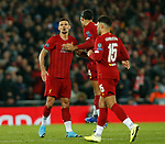 Dejan Lovren of Liverpool celebrates scoring the equaliser with Virgil van Dijk of Liverpool  during the UEFA Champions League match at Anfield, Liverpool. Picture date: 27th November 2019. Picture credit should read: Andrew Yates/Sportimage