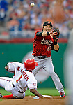 11 July 2008: Houston Astros' second baseman Kazuo Matsui attempts to turn a double-play against the Washington Nationals at Nationals Park in Washington, DC. The Nationals shut out the Astros 10-0 in the first game of their 3-game series...Mandatory Photo Credit: Ed Wolfstein Photo
