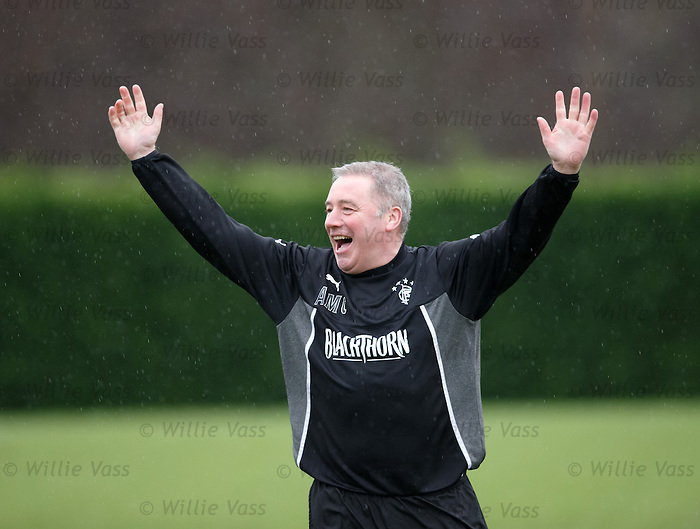 Ally McCoist signals his victory in the sprints.. but as impartial outside observers we are not so sure