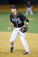Duke Blue Devils first baseman Aaron Cohn (12) on defense against the Wake Forest Demon Deacons at Wake Forest Baseball Park on April 25, 2014 in Winston-Salem, North Carolina.  The Blue Devils defeated the Demon Deacons 5-2.  (Brian Westerholt/Four Seam Images)
