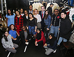 "J. Quinton Johnson and James G. Basker with High School student performers before The Rockefeller Foundation and The Gilder Lehrman Institute of American History sponsored High School student #EduHam matinee performance of ""Hamilton"" at the Richard Rodgers Theatre on 3/28/2018 in New York City."