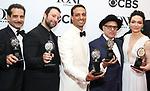 Tony Shalhoub, Itamar Moses, Ari'el Stachel, David Yazbek and Katrina Lenk poses in the 72nd Annual Tony Awards Press Room at 3 West Club on June 10, 2018 in New York City.