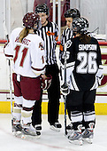 Colleen Harris (Boston College - 11), Brittany Simpson (Providence - 26) - The Providence College Friars and Boston College Eagles tied at 1 on BC's senior night on Saturday, February 21, 2009, at Conte Forum in Chestnut Hill, Massachusetts.