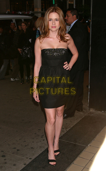 "JENNA FISCHER.The Premiere of ""Solitary Man"" at Cinema 2, New York, NY, USA..May 11th, 2010.full length black strapless dress open toe sandals studs studded hand on hip.CAP/LNC/TOM.©TOM/LNC/Capital Pictures."
