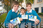 Colman Moore, Peter Karim and Aaron O'Shea from Mercy Mounthawk Secondary School, Tralee who attended the Young Entrepreneur Blue Sky Day in the Brandon Hotel on Friday.