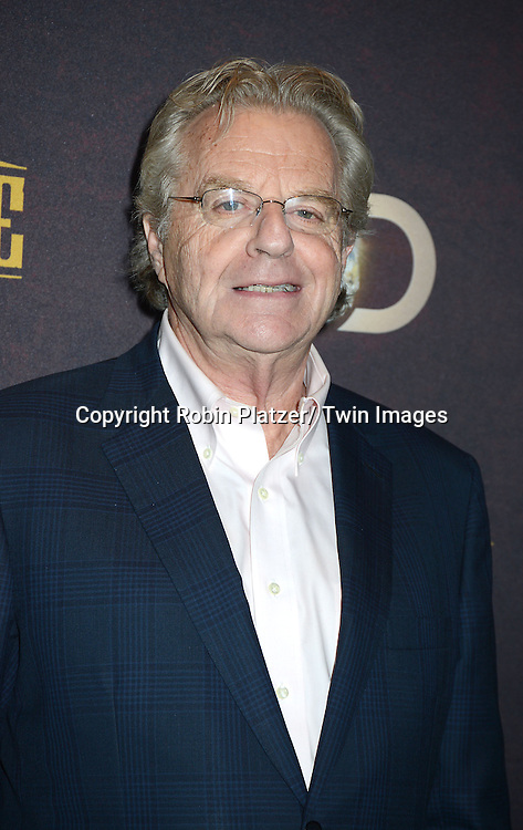 "Jerry Springer attends the premiere of Discovery Channel's first scripted series  "" Klondike"" on January 16, 2014 at Best Buy Theater in New York City. The series will run on January 20, 21 and 22, 2014."