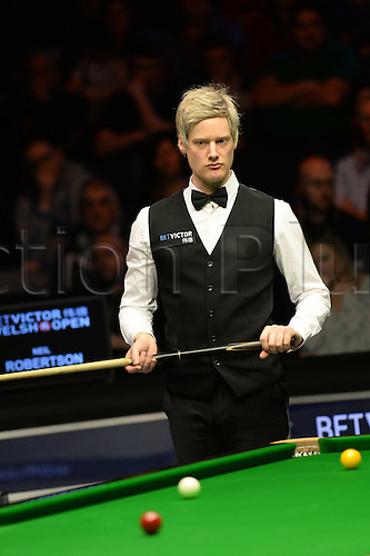 21.02.2016. Cardiff Arena, Cardiff, Wales. Bet Victor Welsh Open Snooker. Ronnie O'Sullivan versus Neil Robertson. Neil Robertson ponders his next shot.