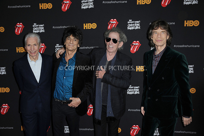 WWW.ACEPIXS.COM . . . . . .November 13, 2012...New York City....Charlie Watts,  Ronnie Wood, Keith Richards and Mick Jagger of The Rolling Stones attend 'The Rolling Stones Crossfire Hurricane' Premiere at Ziegfeld Theater on November 13, 2012 in New York City ....Please byline: KRISTIN CALLAHAN - ACEPIXS.COM.. . . . . . ..Ace Pictures, Inc: ..tel: (212) 243 8787 or (646) 769 0430..e-mail: info@acepixs.com..web: http://www.acepixs.com .