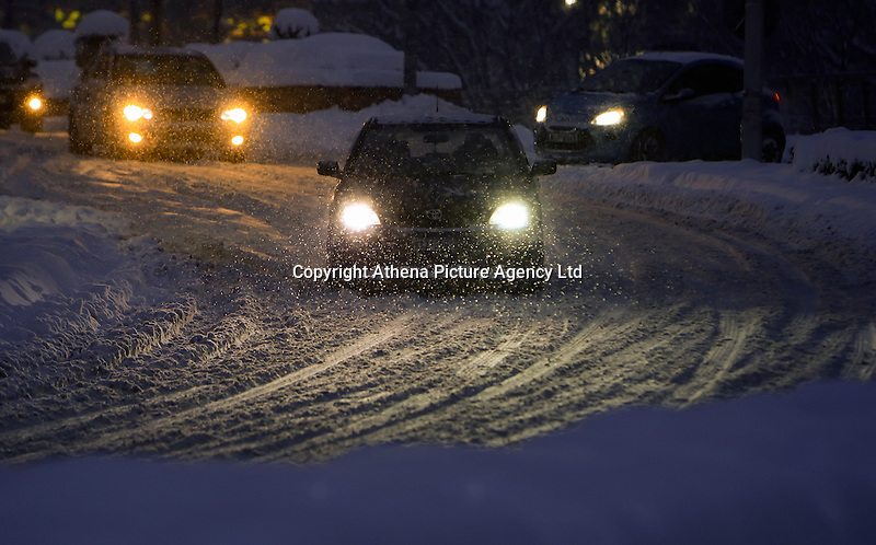 Pictured: Cars travelling in the snow in Larissa, central Greece Thursday 12 January 2017<br /> Re: Heavy snow has affected most parts of Greece.