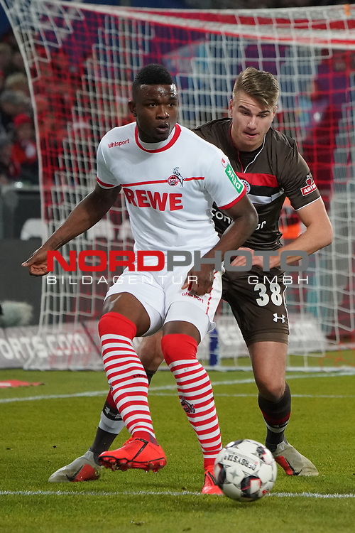 08.02.2019, RheinEnergieStadion, Koeln, GER, 2. FBL, 1.FC Koeln vs. FC St. Pauli,<br />  <br /> DFL regulations prohibit any use of photographs as image sequences and/or quasi-video<br /> <br /> im Bild / picture shows: <br /> Jhon C&oacute;rdoba (FC Koeln #15),   im Zweikampf gegen  Florian Carstens (St Pauli #38), <br /> <br /> Foto &copy; nordphoto / Meuter