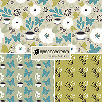 """""""Coffee In The Garden"""" is a hand illustrated scalable vector surface pattern collection - inspired by the rare pleasure of being truly present, mindful, of unwinding, and enjoying coffee surrounded by nature in the garden!<br /> <br /> Suitable to print on various types of surfaces including fabric, wallpapers, stationery, home decor & lifestyle products.<br /> <br /> Contact for commercial/editorial/marketing collaboration for this design. Change requests for colors can be considered."""