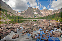 Just off the beaten path, you can find Two Rivers Lake in Rocky Mountain National Park. You may need a GPS to find this location, but it is worth it when the lake is calm. Images such as this are readily available if you put in the effort to reach this beautiful landscape.