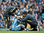 Nicolas Otamendi of Manchester City receives treatment to a head wound during the English Premier League match at the Etihad Stadium, Manchester. Picture date: May 13th 2017. Pic credit should read: Simon Bellis/Sportimage