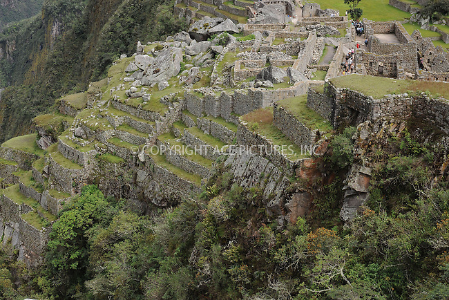 "WWW.ACEPIXS.COM . . . . . .January 8, 2013...Peru....Machu Picchu is a pre-Columbian 15th-century Inca site located 2,430 metres (7,970 ft) above sea level. It is situated on a mountain ridge above the Urubamba Valley in Peru, which is 80 kilometres northwest of Cusco and through which the Urubamba River flows. Most archaeologists believe that Machu Picchu was built as an estate for the Inca emperor Pachacuti (1438-1472). Often referred to as the ""City of the Incas""  on January 8, 2013 in Peru ....Please byline: KRISTIN CALLAHAN - ACEPIXS.COM.. . . . . . ..Ace Pictures, Inc: ..tel: (212) 243 8787 or 212 489 0521..e-mail: kristincallahan@aol.com...web: http://www.acepixs.com ."