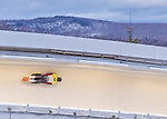9 January 2016: Martins Dukurs, competing for Latvia, slides through Curve 14 on his second run of the day during the BMW IBSF World Cup Skeleton Championships at the Olympic Sports Track in Lake Placid, New York, USA. Martins Dukurs ended the day with a combined 2-run time of 1:48.28 and a resulting gold medal. Mandatory Credit: Ed Wolfstein Photo *** RAW (NEF) Image File Available ***