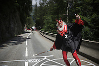 Cycling's most famous fan Didi 'The Devil'/'El Diabolo'/'Der Teufel' up the Col de Glandon (HC/1924m/21.7km@5.1%)<br /> <br /> stage 18: Gap - St-Jean-de-Maurienne (187km)<br /> 2015 Tour de France