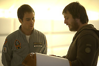 Moon (2009) <br /> Behind the scenes photo of Sam Rockwell &amp; Duncan Jones<br /> *Filmstill - Editorial Use Only*<br /> CAP/KFS<br /> Image supplied by Capital Pictures