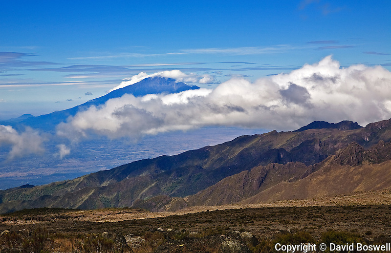 Mount Meru, seen from the Shira Plateau on Mount Kilimanjaro.