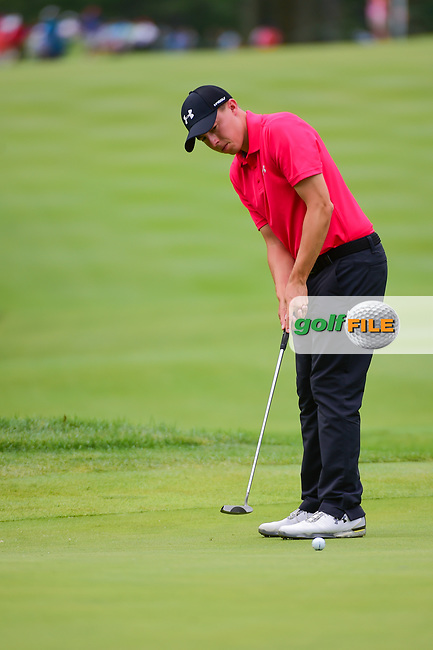 Matt Fitzpatrick (ENG) watches his putt on 8 during Sunday's final round of the World Golf Championships - Bridgestone Invitational, at the Firestone Country Club, Akron, Ohio. 8/6/2017.<br /> Picture: Golffile | Ken Murray<br /> <br /> <br /> All photo usage must carry mandatory copyright credit (&copy; Golffile | Ken Murray)