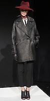 TRINA TURK FALL 2013, Glazed basketweave wool Tiburon coat/ Black-edged ivory georgette blouse/ Pebble New Yoshimi