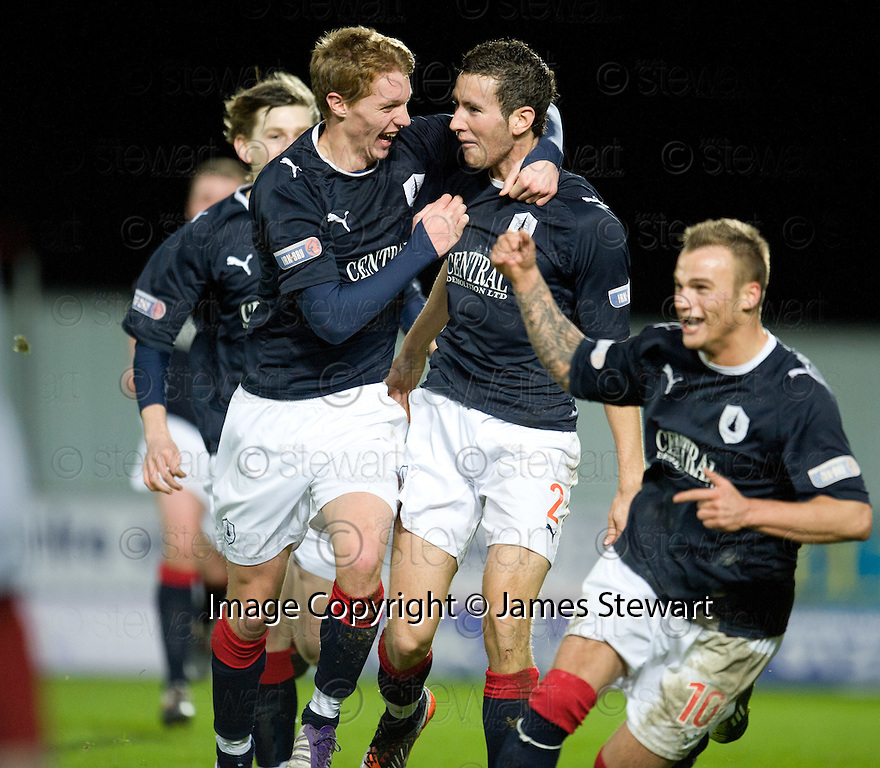 KIERAN DUFFY CELEBRATES AFTER HE SCORES FALKIRK'S GOAL