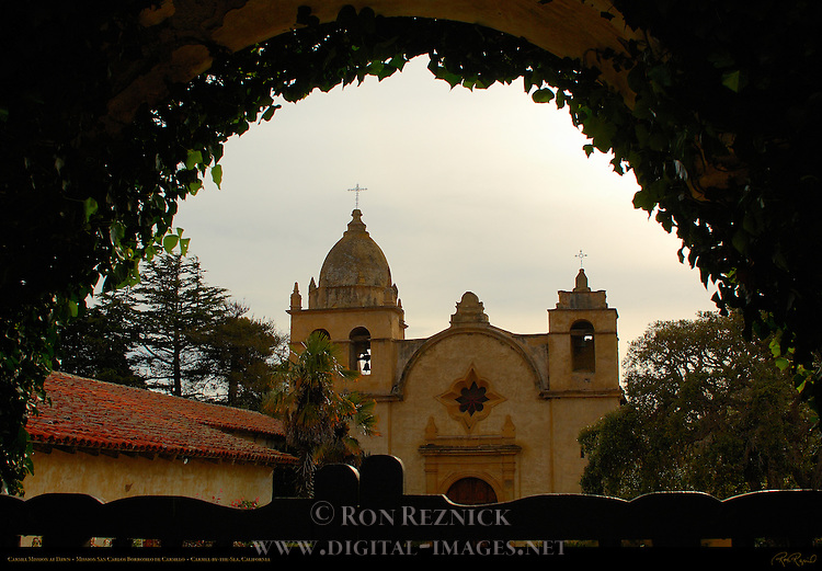 Carmel Mission at Dawn, Mission San Carlos Borromeo de Carmelo 1771, Carmel-by-the-Sea, California