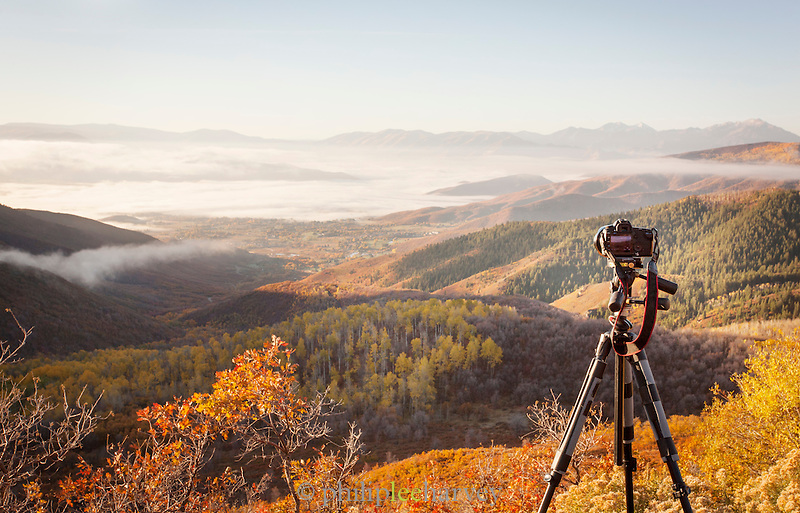Camera photographing view from the mountains surrounding Park City in (Fall), Autumn showing colour, Utah, United States of America