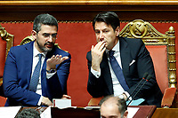 Riccardo Fraccaro, Giuseppe Conte<br /> Rome March 19th 2019. Senate. Speech of the Italian Premier about the next European Council and about the economic agreements italy/China.<br /> Foto Samantha Zucchi Insidefoto