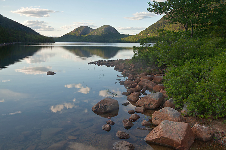The Bubbles and Jordan Pond, Mount Desert Island, Acadia National Park, Maine, USA