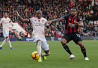 Bournemouth's Callum Wilson (right) vies for possession with Manchester United's Ashley Young (left) <br /> <br /> Photographer David Horton/CameraSport<br /> <br /> The Premier League - Bournemouth v Manchester United - Saturday 3rd November 2018 - Vitality Stadium - Bournemouth<br /> <br /> World Copyright &copy; 2018 CameraSport. All rights reserved. 43 Linden Ave. Countesthorpe. Leicester. England. LE8 5PG - Tel: +44 (0) 116 277 4147 - admin@camerasport.com - www.camerasport.com