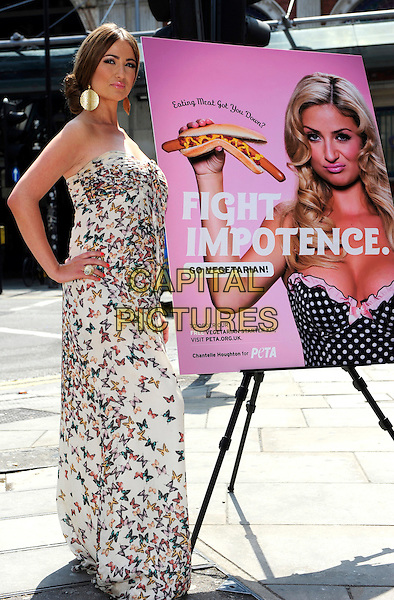 CHANTELLE HOUGHTON.Attends photocall to launch PETA's 'Eating Meat Got You Down?' campaign at Smithfield Meat Market in London, England..June 2nd, 2010.full length white maxi dress strapless hand on hip butterfly butterflies print pattern purple red green blue poster fight impotence.CAP/CJ.©Chris Joseph/Capital Pictures.