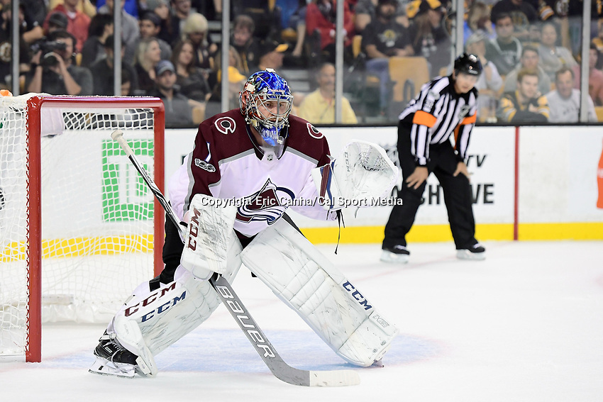 October 9, 2017: Colorado Avalanche goalie Semyon Varlamov (1) minds the net during the NHL game between the Colorado Avalanche and the Boston Bruins held at TD Garden, in Boston, Mass. Colorado defeats Boston 4-0. Eric Canha/CSM