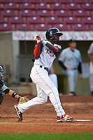 Cedar Rapids Kernels shortstop Nick Gordon (5) at bat during a game against the Kane County Cougars on August 18, 2015 at Perfect Game Field in Cedar Rapids, Iowa.  Kane County defeated Cedar Rapids 1-0.  (Mike Janes/Four Seam Images)