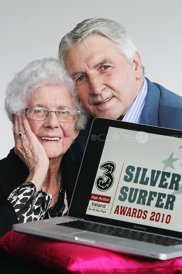 "22/9/2010. Silver Surfer Awards. Fair City actor Jim Bartley (Bela Doyle) and 96-year-old Marguerite Faulkner from Tyrone last years award winner are pictured at the Science Gallery Dublin to encouraging all seniors to ""ride the wave"" of new technologies as they help 3 and Age Action Ireland launch the search for Ireland's biggest ""Silver Surfers"".Picture James Horan/Collins Photos"