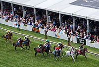 BALTIMORE, MD - MAY 20: The field passes the grandstands for the first time during the the Longines Dixie Stakes on Preakness Stakes Day at Pimlico Race Course on May 20, 2017 in Baltimore, Maryland. World Approval  #2, ridden by Julien Leparoux, won the race. (Photo by Dan Heary/Eclipse Sportswire/Getty Images)
